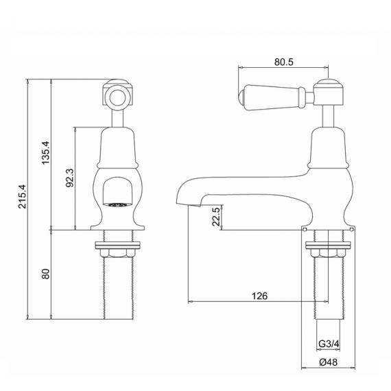 Burlington Kensington Bath Taps Specification