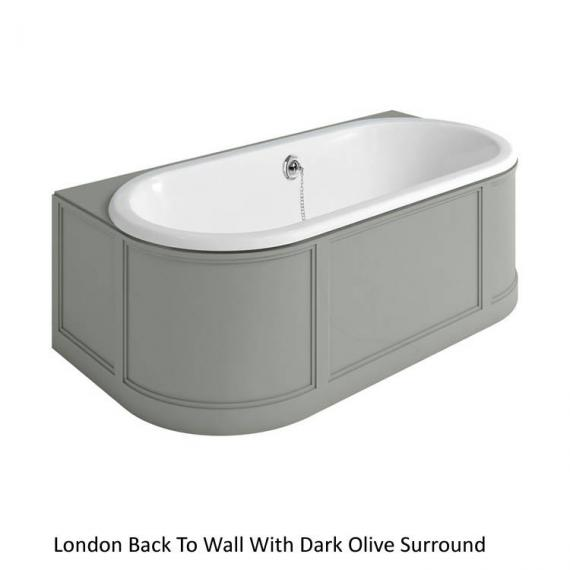 Burlington London Back To Wall Bath with Dark Olive Curved Surround
