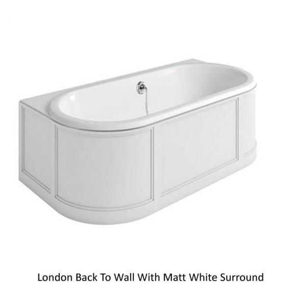 Burlington London Back To Wall Bath with Matt White Curved Surround