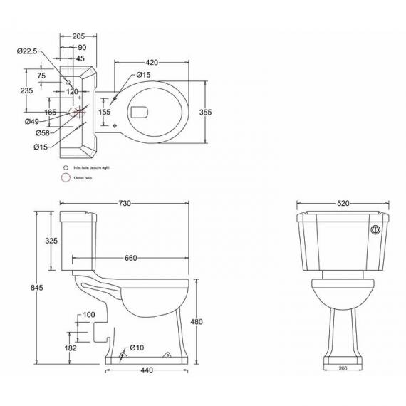 Burlington Regal Close Coupled Toilet With Front Button Specification