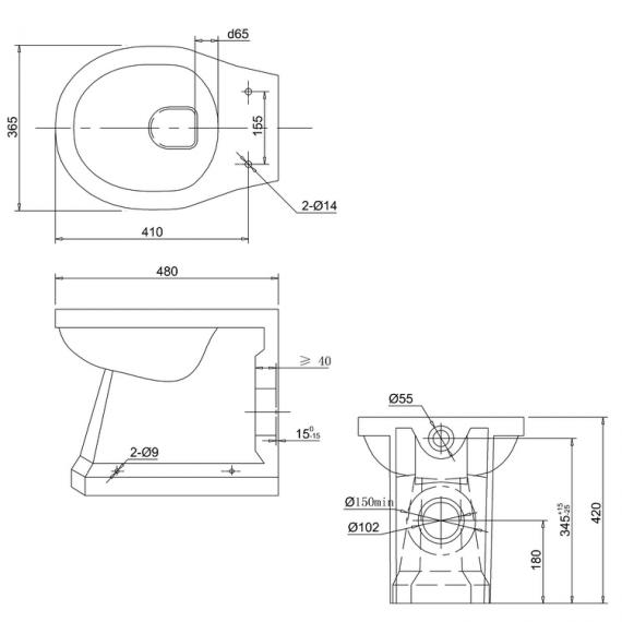 Burlington Back to Wall WC Pan Specification