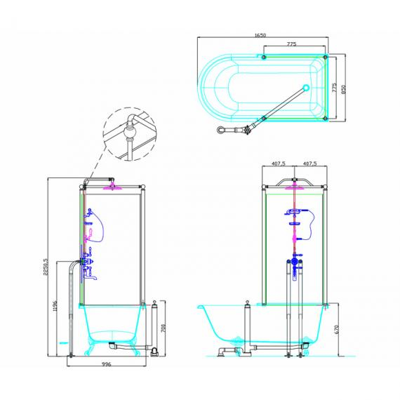 Arcade Royal Single Ended Over Bath Shower Temple - Right Hand Specification