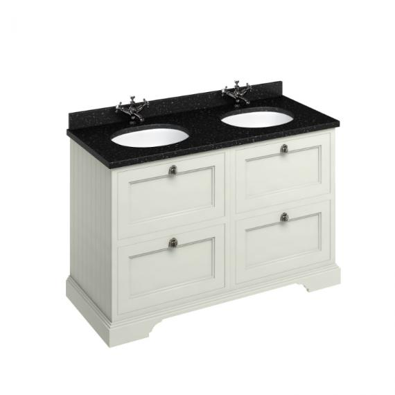Burlington Sand 1300mm Double Vanity Unit with Drawers, Granite Worktop & Basin