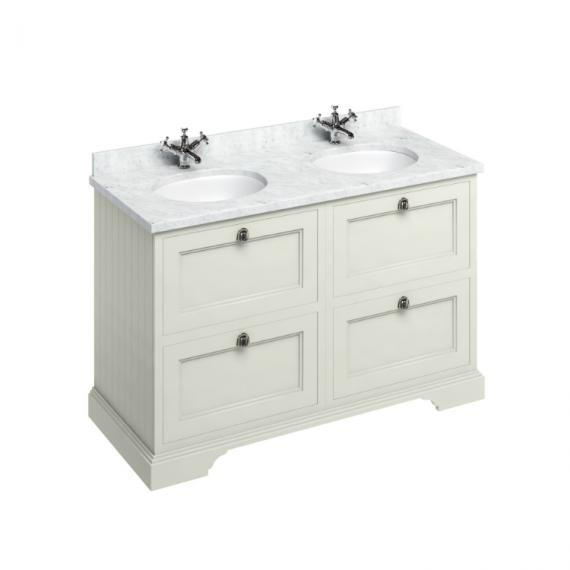 Burlington Sand 1300mm Double Vanity Unit with Drawers, Minerva Carrara White Worktop & Basin