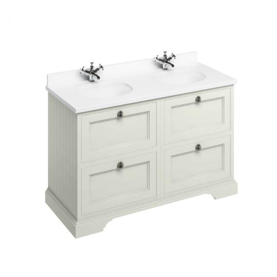 Burlington Sand 1300mm Double Vanity Unit with Drawers, White Worktop & Basin
