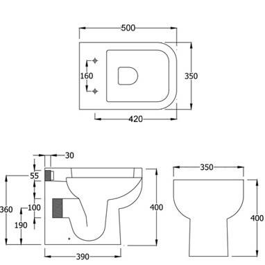 Rak Series 600 Back To Wall Toilet Specification