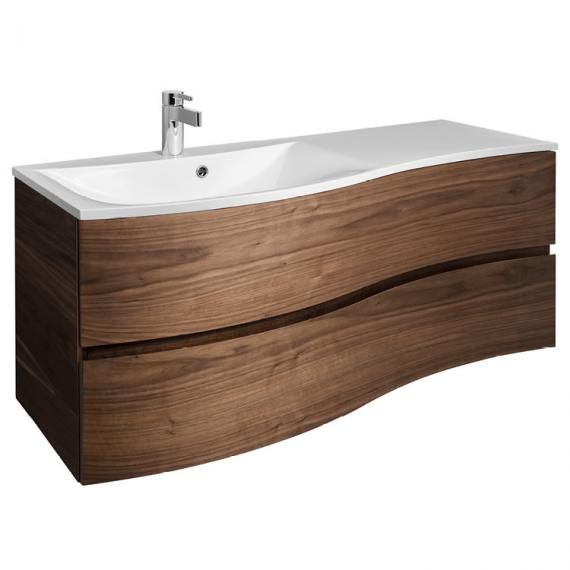 Bauhaus Svelte American Walnut 120 Vanity Unit & Ice White Glass Basin