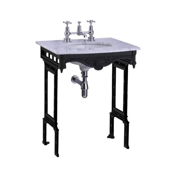 Burlington Carrara Marble Top With Basin & Black Wash Stand