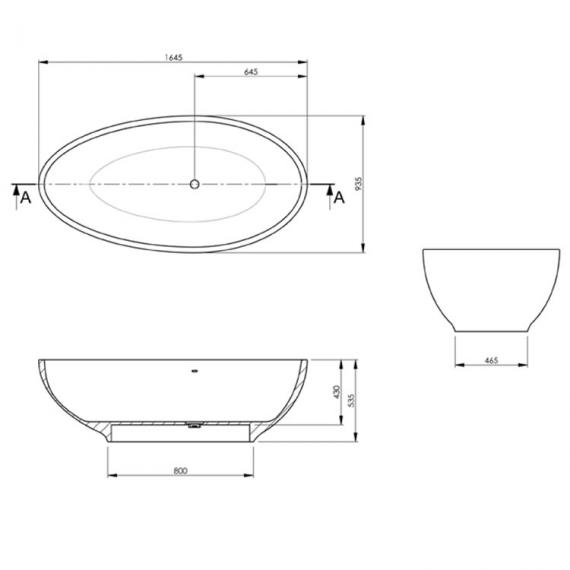 BC Designs Thinn Gio 1645mm Freestanding Bath  - Specification