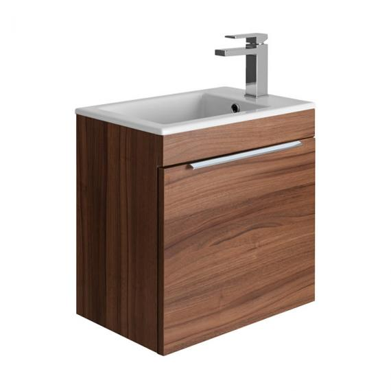 Bauhaus Zion Natural Walnut 500mm Wall Hung Drawer Unit with Basin