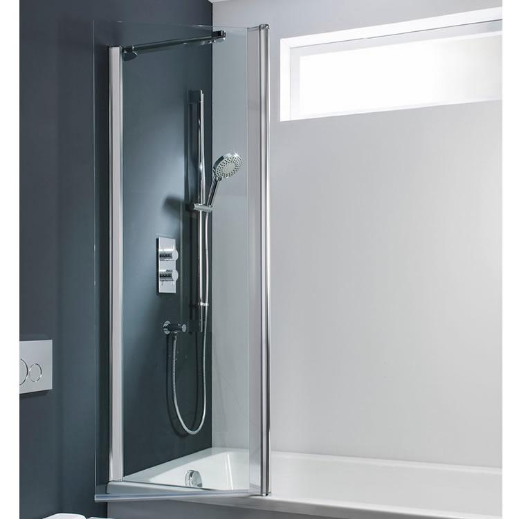 Simpsons Design Hinged Bath Screen Silver Sanctuary Bathrooms