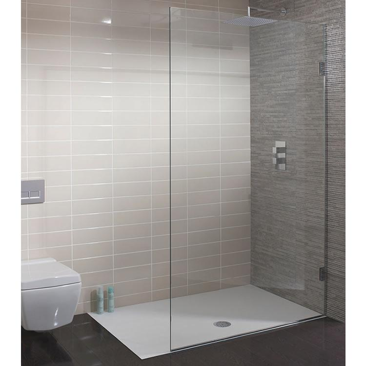 Simpsons ten 10mm single fixed glass panel walk in for Wet room shower screen 400mm