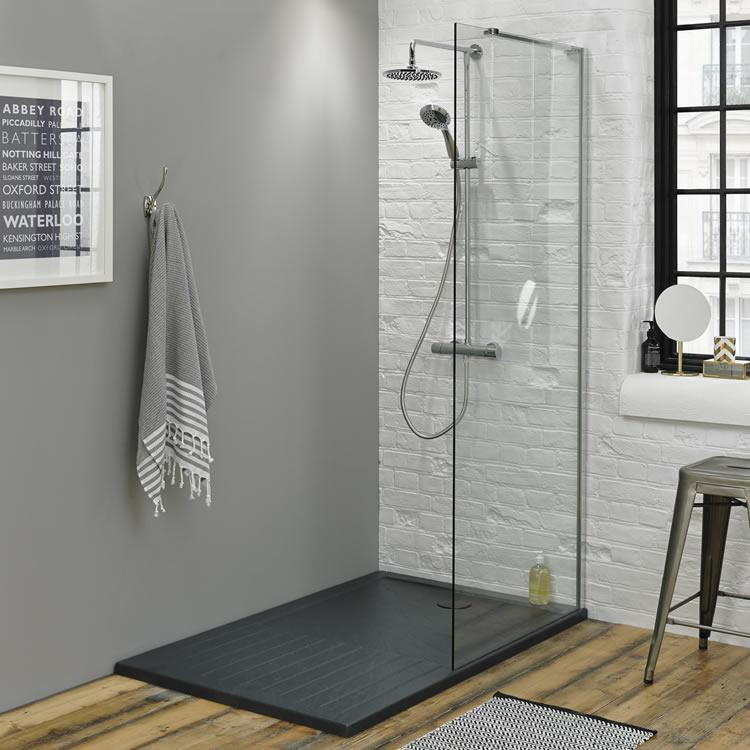Summit walk in enclosure grey slate effect shower tray for Walk in shower tray