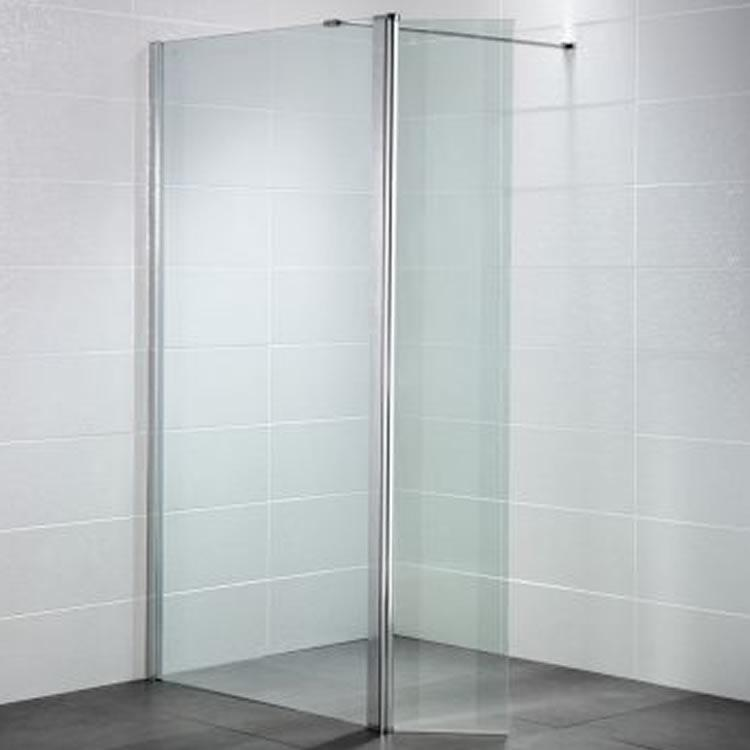 April identiti wetroom screen with return panel 8mm for Wet room shower screen 400mm