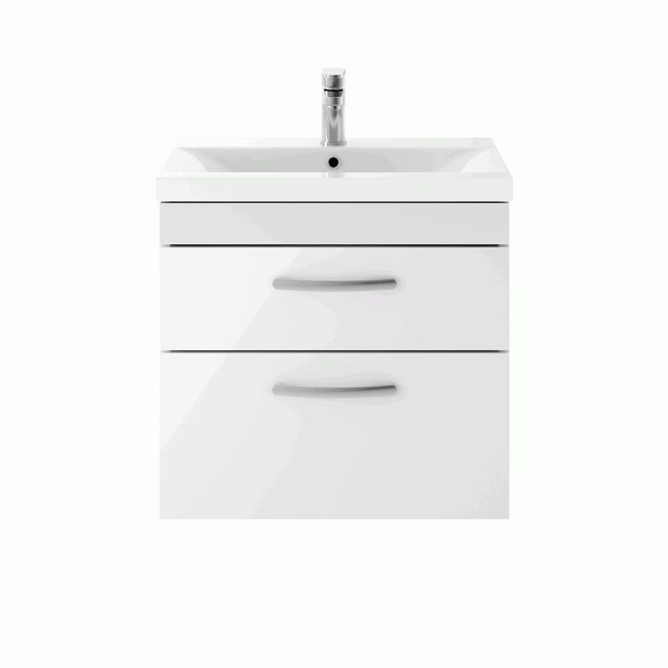 Dune 600mm Gloss White Wall Hung Double Drawer Unit & Basin