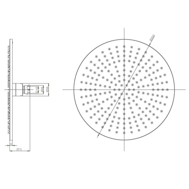Crosswater MPRO Brushed Brass 300mm Round Shower Head - Image 2  - Dimensions