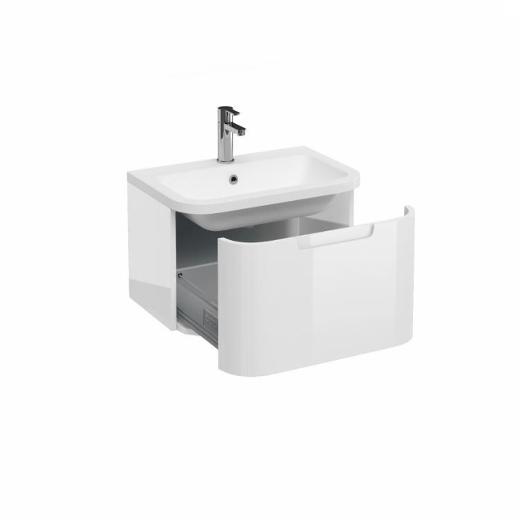 Aqua cabinets compact white 600mm wall hung vanity unit for Bathroom cabinet 900 x 600