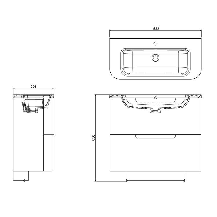Aqua Cabinets Compact White 900mm Two Drawer Vanity Unit Basin