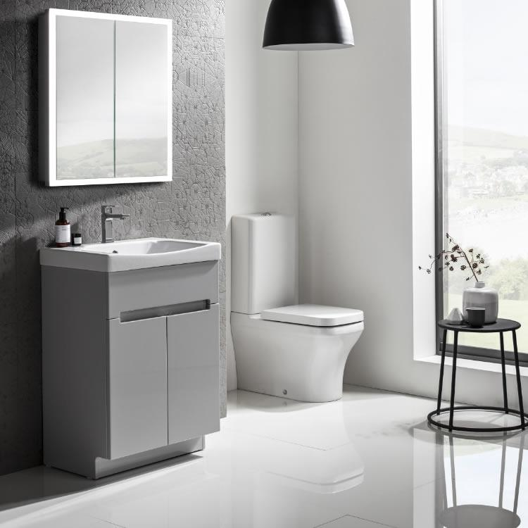 Roper Rhodes Diverge Grey 600mm Freestanding Unit Basin Vanity Unit Sanctuary Bathrooms