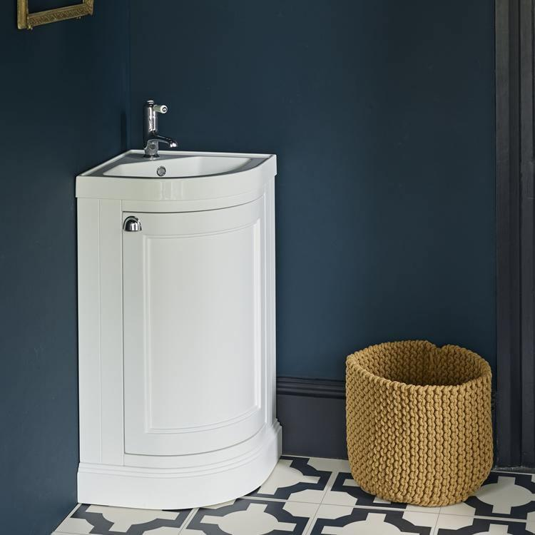 Burlington Freestanding Corner Matt White Cloakroom Vanity
