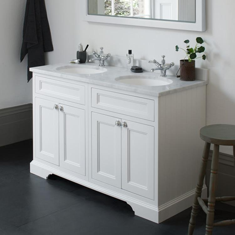 Burlington Matt White 1300mm Freestanding Double Vanity Unit Basin Sanctuary Bathrooms