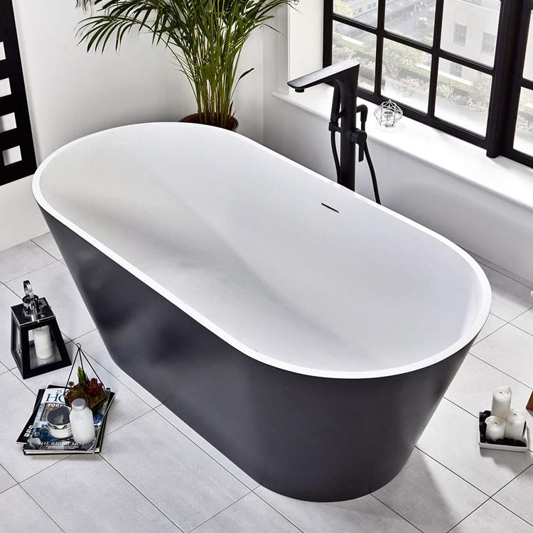 Frontline Graphite Stone Freestanding 1700 x 800mm Double Ended Bath ...