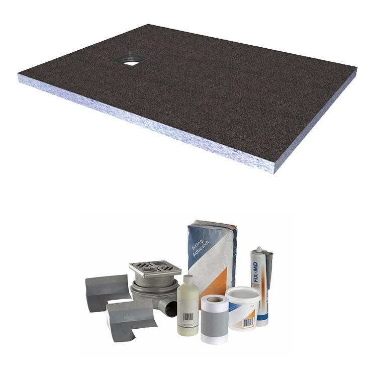 Abacus Elements 1200 x 900mm Level Access 30mm Shower Tray Kit with End Drain