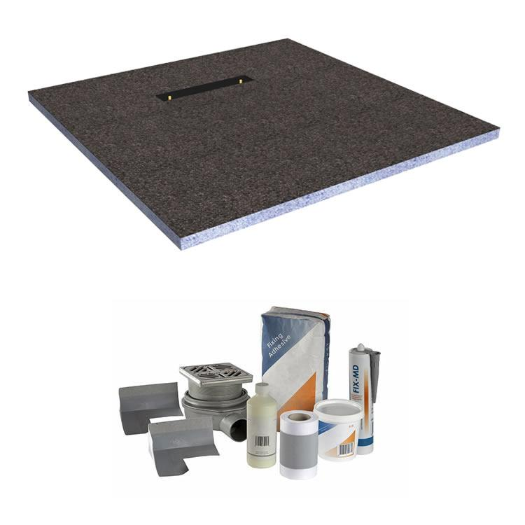 Photo of Abacus Elements 1400 x 900mm Level Access 30mm Shower Tray Kit with End Linear Drain