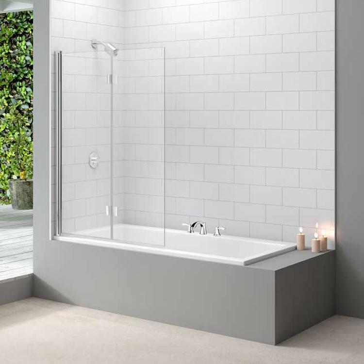 Merlyn mb8 two panel folding bath screen 8mm glass for Folding shower for small bathrooms