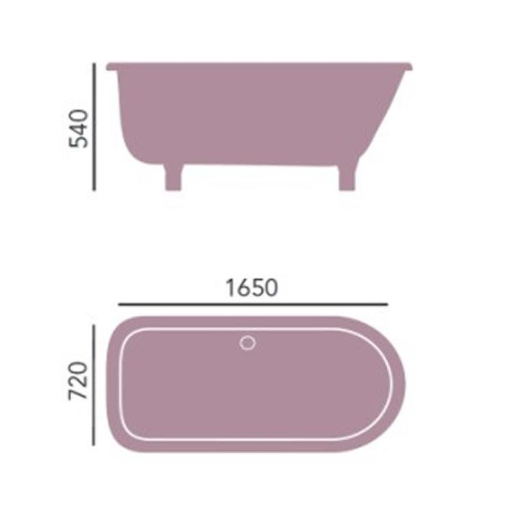 Heritage Perth 1650mm Freestanding Single Ended Roll Top Bath Sanctuary Bathrooms