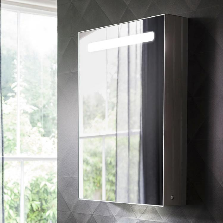Bauhaus allure 500mm led illuminated mirrored cabinet - Mirrored bathroom cabinet with lights ...