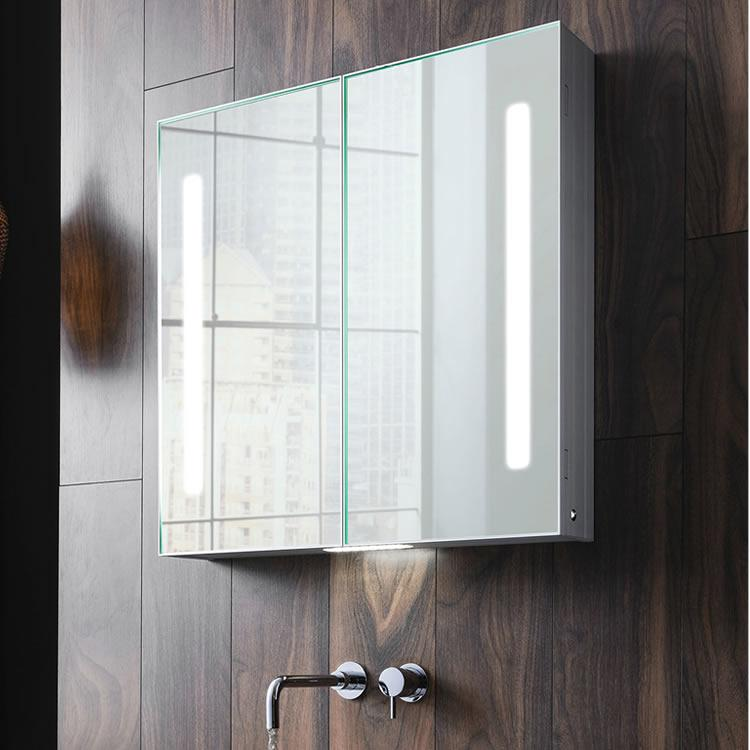 Mirrored bathroom cabinets with lights sanctuary bathrooms bauhaus allure 700mm led illuminated mirrored cabinet aloadofball Images