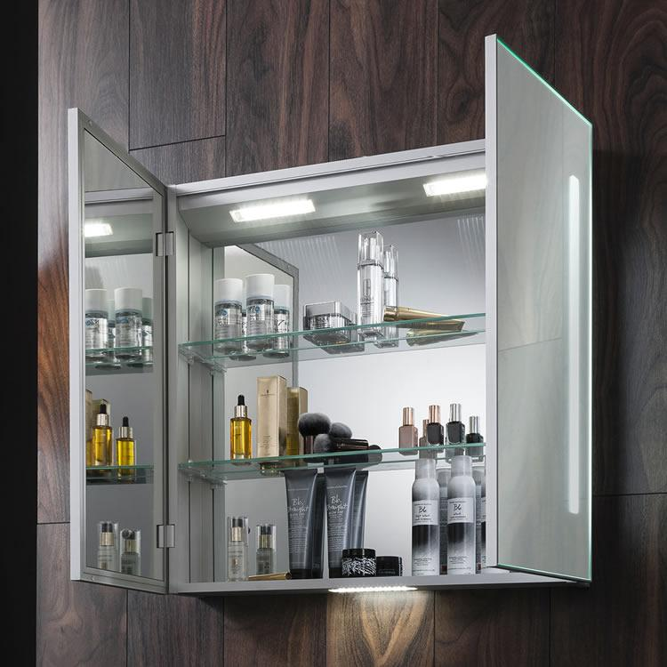 Bauhaus allure 700mm led illuminated mirrored cabinet - Mirrored bathroom cabinet with lights ...