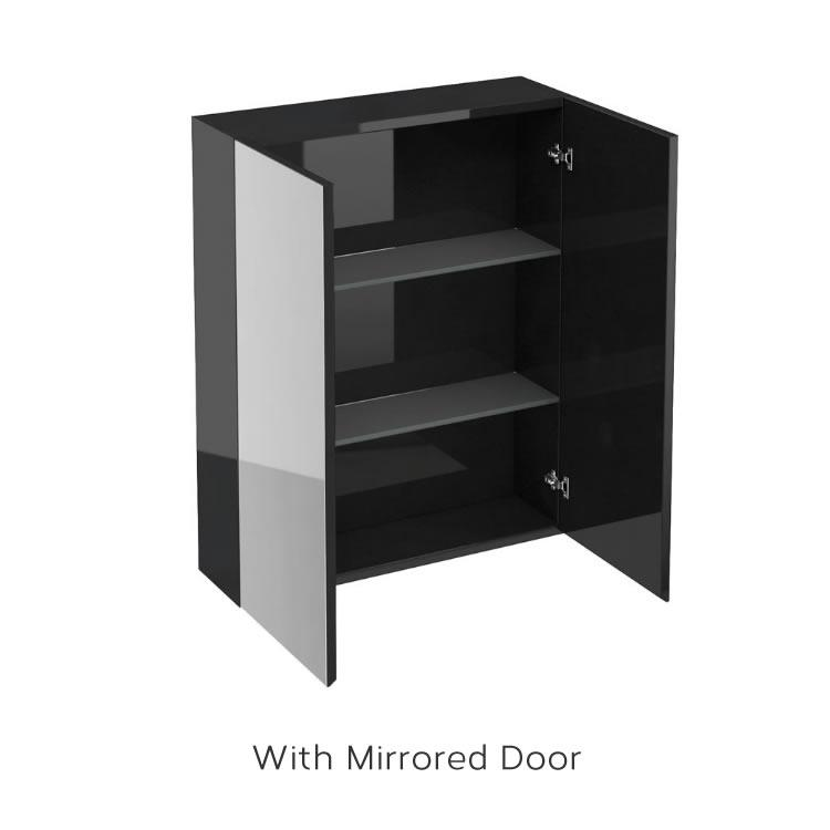 Aqua cabinets 600mm black gloss wall cabinet bathroom storage c20b c40b sanctuary bathrooms - Bathroom cabinets black gloss ...