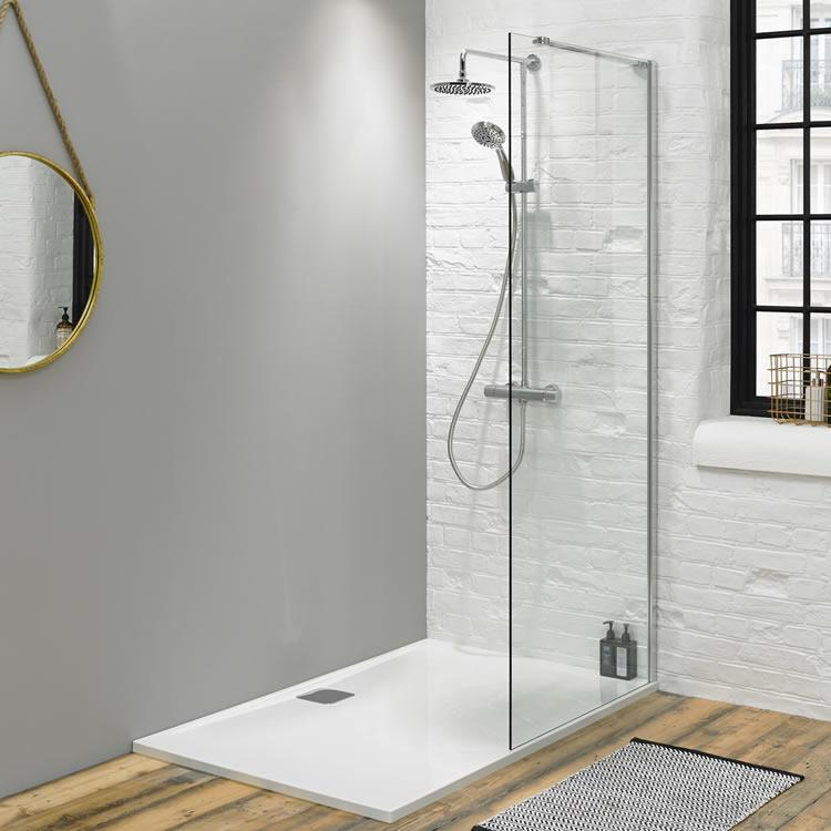 fino 1400mm walk in shower with 25mm shower tray. Black Bedroom Furniture Sets. Home Design Ideas