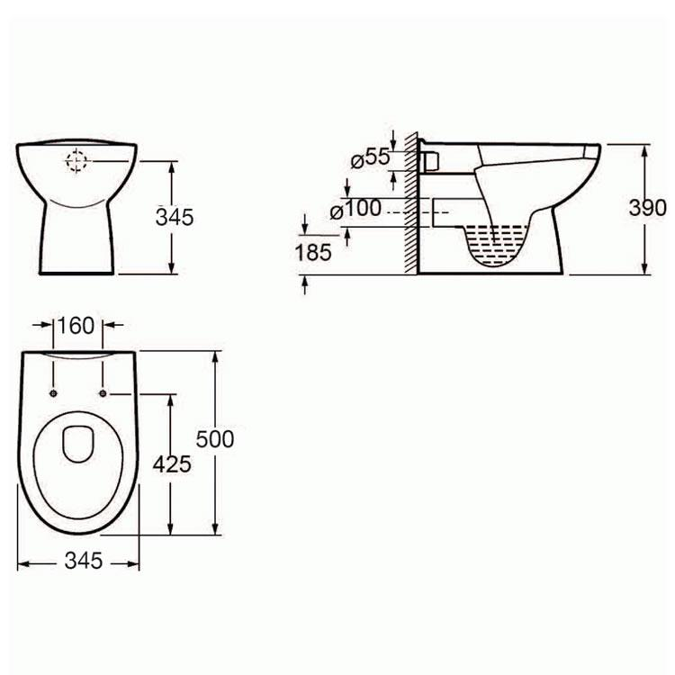 pura ivo compact back to wall toilet  u0026 seat