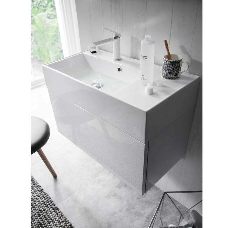 Bauhaus elite 70 white gloss vanity unit and basin for Bathroom cabinets 700 x 500