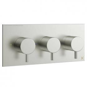 Crosswater Mike Pro Brushed Stainless Steel Triple Shower Valve - Landscape