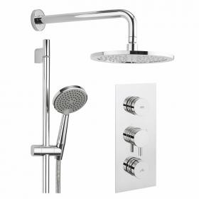 Crosswater Dial Shower Valve 2 Control with Kai Lever Trim, Head & Slider Rail