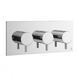 Photo of Crosswater MPRO Chrome Thermostatic Triple Shower Valve - Landscape