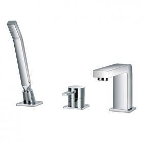 Flova STR8 3 Tap Hole Bath Shower Mixer & Handset