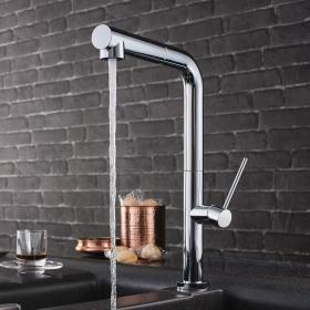 Crosswater Cucina Tube Chrome Side Lever Kitchen Mixer with Spray