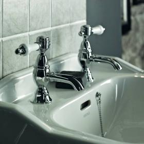 Photo of Heritage Glastonbury Chrome Basin Pillar Taps