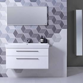 Photo of Roper Rhodes Scheme 1000mm Gloss White Wall Mounted Vanity Unit and Basin
