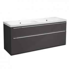 Photo of Roper Rhodes Scheme 1200mm Gloss Dark Clay Wall Mounted Vanity Unit with Double Basin