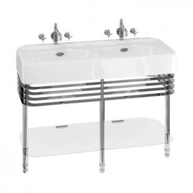 Photo of Arcade 1200mm Double Basin with Chrome Wash Stand & Glass Shelf