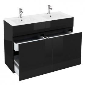 Aqua Cabinets D450 Black 1200mm Double Drawer Vanity Unit & Basin