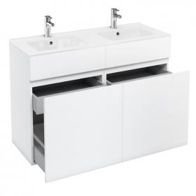 Aqua Cabinets D450 White 1200 Double Drawer Vanity Unit & Basin