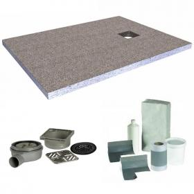 Simpsons 1600 x 900mm Rectangular 40mm Wetroom Tray & Install Kit