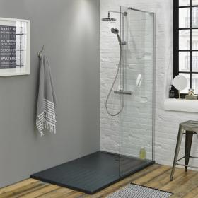 Summit 1400 x 900mm Walk In Enclosure & Grey Slate Effect Shower Tray